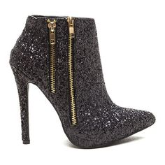 Glitter Party Sparkling Zipper Booties BLACK (66 CAD) ❤ liked on Polyvore featuring shoes, boots, ankle booties, ankle boots, black, high heels stilettos, black stilettos, faux leather booties en black ankle boots
