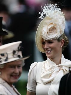 Zara Phillips with Queen Elizabeth II, her grandmother.  now this is memorable hat without looking ridiculous