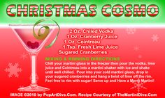 CHRISTMAS COSMOPOLITAN MARTINI recipe on a Free Recipe Card - Click the image for the Full Sized, Print Quality Recipe Card!