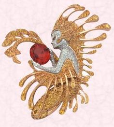 Van Cleef & Arpels Couture, Luxury, High Jewellery  -  The Néréide clip is a nymph of yellow and white gold set with yellow and white diamonds, pear-shaped yellow sapphires gazing at a stunning, sunset red, 7.21 carat oval cut spinel clasped in her hands.
