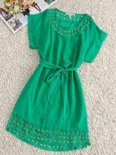 Green Round Neck Short Sleeve Batwing Drawstring Waist Silk Dress $74.88