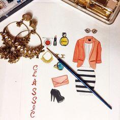 Classic #art #watercolor #illustration #classic #dress #heels #perfume #lipstic #bag #shimonastudio #fashion #jacket