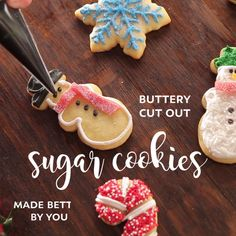 Kittencal's Buttery Cut-Out Sugar Cookies W/ Icing That Hardens - Healthy Dessert Best Sugar Cookies, Christmas Sugar Cookies, Sweet Cookies, Sugar Cookies Recipe, Christmas Desserts, Christmas Treats, Christmas Baking, Gingerbread Cookies, Cookie Recipes
