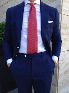 Isaia suit and knit tie