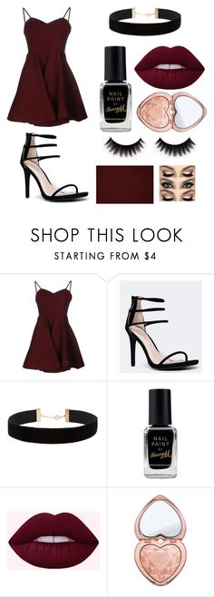 """""""maroon"""" by bbaassiicc on Polyvore featuring Glamorous, Anne Michelle, Eloquii, Barry M and Too Faced Cosmetics"""