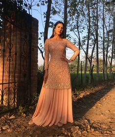 Outfit: Astha NarangYou can find indian wedding outfits and more on our website. Indian Wedding Outfits, Pakistani Outfits, Indian Outfits, Sharara Designs, Indian Attire, Indian Wear, Indian Suits Punjabi, New Punjabi Suit, Punjabi Wedding Suit