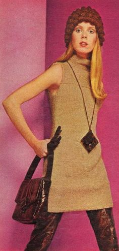1960s fashion tan knit tunic dress mini boots purse long necklace hat sweater brown black