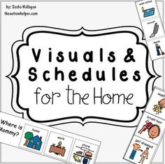 Visuals & Schedules for the Home for Children with Autism {Included in this resource: - First/Then Board with 8 Picture Options - Home Help Choice Board - Clothing Labels - Where's Mom or Dad? Moveable Visual Cue - Morning Routine Schedule - Behavior Visuals} by theautismhelper.c