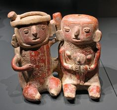Pottery, couple with child    Pottery in the shape of a couple with child, terracotta, Vicús culture, Peru,  Collection Janssen-Arts, MAS, Antwerp