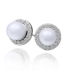 Alloy studs with Swarovski crystals and pearls. (vadE332).