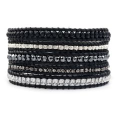 Matte Onyx Mix Wrap Bracelet on Natural Black Leather - Chan Luu