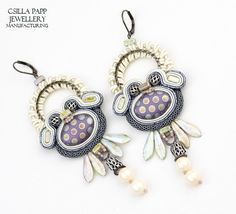 OOAK Hand Embroidered Designer Earrings. Made with quality Czech dagger beads, Czech round beads, seed beads, glass beads, metallic rings,