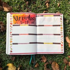 Bullet Journal Bujo Weekly Spread Weekly Layout Weekly Planning Fall Autumn Leaves Pumpkins #bujoinspo #bujoinspire #bujo #bulletjournal #bujojunkies #bujolove #fall #autumn #leaves #pumpkins #bujocommunity