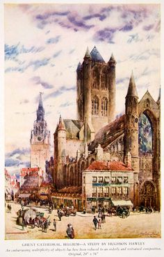 1943 Color Print St Bavo Cathedral Ghent Belgium Church Cityscape Hughson XAW5