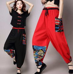 Ethnic Womens Chinese Style Linen Peacock Wide-leg Embroidery Pants Trousers New Quirky Fashion, Asian Fashion, Girl Fashion, Fashion Dresses, Chinese Clothing, Kawaii Clothes, Traditional Outfits, Pretty Outfits, Cosplay Outfits