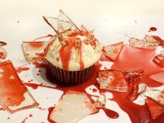 Bloody Broken Candy Glass Cupcakes for Halloween #recipe #dessert