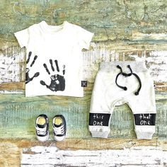 Cool Baby Clothes ~ NUNUNU hand print tee, Minti trackies & baby Converse high tops [shop link below] www.tinystyle.com.au