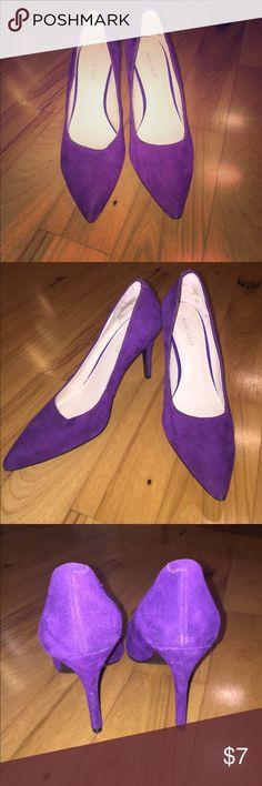 7 1/2 Nine West Purple Suede Heels EUC only worn once. Fun cute heels to pair with a print or neutral Nine West Shoes Heels