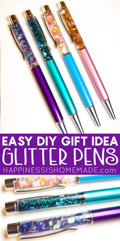 Easy DIY Glitter Pens Easy DIY Glitter Pens – These awesome DIY glitter pens can be made in under 10 minutes! A fantastic homemade gift idea that can be personalized with your favorite color combinations! Easy Diy Gifts, Cheap Gifts, Homemade Gifts, Diy Crafts To Sell, Fun Crafts, Sell Diy, Festival Party, Letters Ideas, Lettering Brush