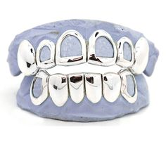 White Gold Open Face Style Windows Grillz