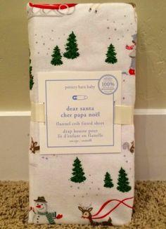 pottery barn kids dear santa flannel crib fitted sheet new christmas santa deer