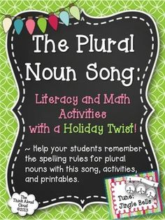"""Don't want to have to repeat yourself for the bazillionth time when it comes to rules for making words plural? This """"Plural Noun Song"""" may help in that area a bit. Why not teach or review grammar skills in a fun way that provides a song to a familiar tune to get your students smiling? {Grades 1-3} $ #TpT #ELA #TeachersPayTeachers #PluralNouns"""