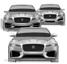 Jaguar XF's original front theme design sketch (top left) and walk-up derivatives featuring base & top spec version of the car.