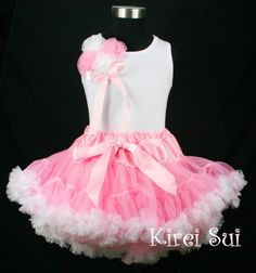 Girls KS Light Pink White Pettiskirt plus Tank Top with Bunch Rosettes