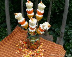 candy corn cupcakes on a stick