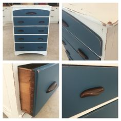 Refinished dresser with Rethunk Junk paint denim blue with cotton and stain top on the handles. #ourjunkyourtrunk #rethunkjunkpaint #breakthechalkhabit
