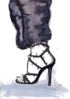 One of a kind original artwork by Lily Duk.This illustration is inspired by the Alexander Wang collection.Created on heavy quality artist paper (200 grams)Indian ink, watercolor and fineliner...