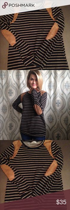 Striped shirt with suede accents new boutique Charcoal striped shirt with suede shoulder accent and elbow patches. New. Boutique. Tops Tees - Long Sleeve