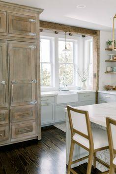 Elegant white farmhouse kitchen with Benjamin Moore Repose Grey cabinets, subway tile, gold accents, and reclaimed barn wood. White Farmhouse Kitchens, Grey Kitchens, Small Kitchens, Home Decor Kitchen, Kitchen Design, Kitchen Ideas, Kitchen Paint, Kitchen Inspiration, Kitchen Furniture