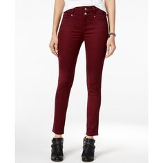 Tinseltown Juniors' 2-Button High-Waist Colored Skinny Jeans ($30) ❤ liked on Polyvore featuring jeans, point noir, skinny jeans, white jeans, high-waisted skinny jeans, high-waisted jeans and high rise white jeans