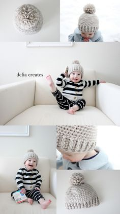 Crochet Baby Hats delia creates: Crocheted Ribbed Beanie - Free Pattern-size months (go down one hook size for a size smaller and up a hook size for a size bigger) - Crochet For Boys, Love Crochet, Diy Crochet, Crochet Crafts, Crochet Projects, Double Crochet, Crochet Shark, Ribbed Crochet, Crochet Ideas
