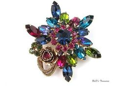 Vintage QUALITY Multi Color Rhinestone Flower Star BROOCH Pin 2 1/2""