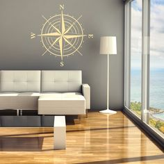 Compass Rose Wall Vinyl Decal 24 X 24 ID29 by FabDecals on Etsy, $28.00. For travel themed guest room