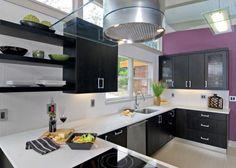 Purple and Black Kitchen Decor . 24 Fresh Purple and Black Kitchen Decor . Purple Kitchen — 14 Creative Ways to Decorate A Kitchen with Purple — Purple Kitchen Decor, White Kitchen Interior, Interior Design Kitchen, Kitchen Colors, Kitchen Paint, Kitchen Cabinets, Black Cabinets, Gloss Kitchen, Cupboards