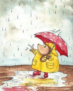 Hedgehog Rainy Day - Georgia Dunn