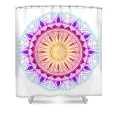 """Color Life Circle Mandala - Zendala - Customize Your Background Color Shower Curtain by Sharon Norman.  This shower curtain is made from 100% polyester fabric and includes 12 holes at the top of the curtain for simple hanging.  The total dimensions of the shower curtain are 71"""" wide x 74"""" tall."""