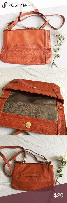 """Cross body Bag Vintage color, cross body style, gold hardware, clean interior, 1 pocket on back 2 inside 1 with zipper. Man made material.  •width:12"""" •length:7.5"""" •strap:41""""                                                           Bundle for a Discount Relic Bags Crossbody Bags"""