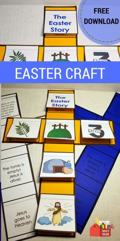 Retell the Easter story with this interactive notebook activity. Cut and glue the pictures to the cross and lift the flaps to reveal the story. This is a great lesson add on and Sunday school activity. Easy to make, it will engage students and help comprehension and recall. #easter #eastercrafts #sundayschool #tpt #freeprintable