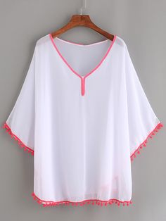 Shop White Beach Blouse With Pom Pom Trim online. SheIn offers White Beach Blouse With Pom Pom Trim & more to fit your fashionable needs. Dressy Tops, Fashion Models, Girl Fashion, Fashion Tips, Fashion Hacks, Hijab Fashion, Fashion Dresses, Lace Tops, Clothing Patterns