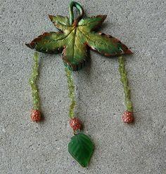 Green Maple Leaf Ornament / Decor Nature Autumn by TwoBlueRavens, $15.00
