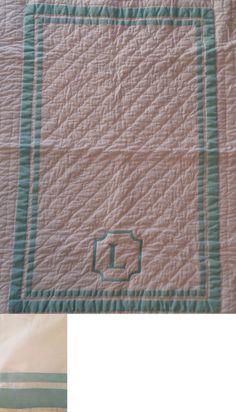 Pillowcases and Shams 124327: New Pottery Barn Harper Aqua Monogram L Nursery Crib Quilt And Crib Skirt -> BUY IT NOW ONLY: $159.95 on eBay!
