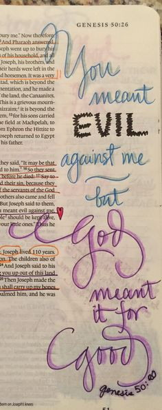 """Genesis """"You meant evil against me but God meant it for Good. My Bible, Bible Art, Bible Scriptures, Bible Quotes, Bible Study Journal, Scripture Study, Art Journaling, Scripture Doodle, Scripture Journal"""