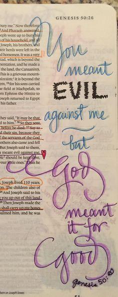 Bible journaling. Joseph. Exodus 50:20. Journaling, Prayers, Caro Diario, Prayer