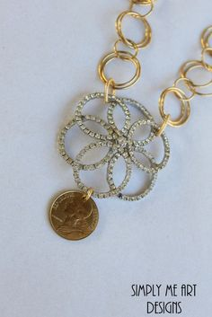 Vintage Rhinestone and French Coin One of a Kind by simplymeart, $80.00