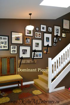 how to hang a photo gallery or artwork display going up stairs or a stairway