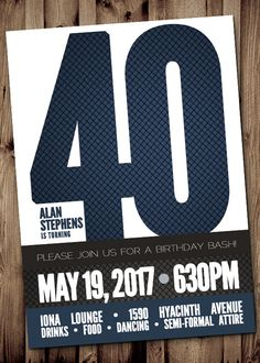 40th BIRTHDAY Party Invitation for Man Male  by ScriptureWallArt